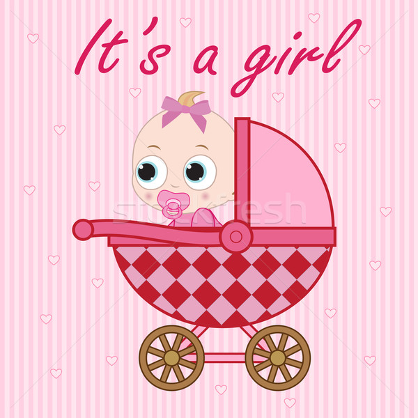 Little baby girl in the baby carriage Stock photo © Neokryuger