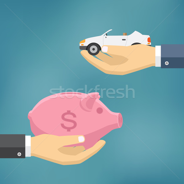 Hands with car and money bag. Stock photo © Neokryuger