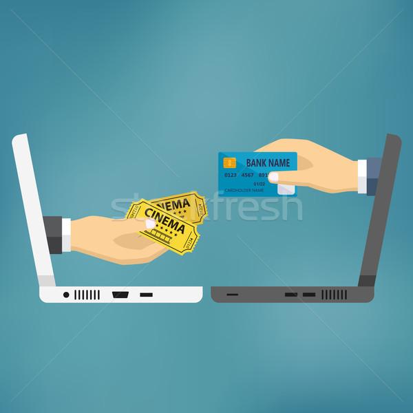Handen creditcard bioscoop tickets ecommerce vector Stockfoto © Neokryuger
