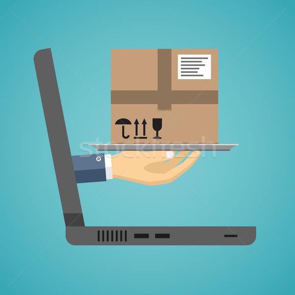 Levering dienst hand pakket laptop scherm Stockfoto © Neokryuger