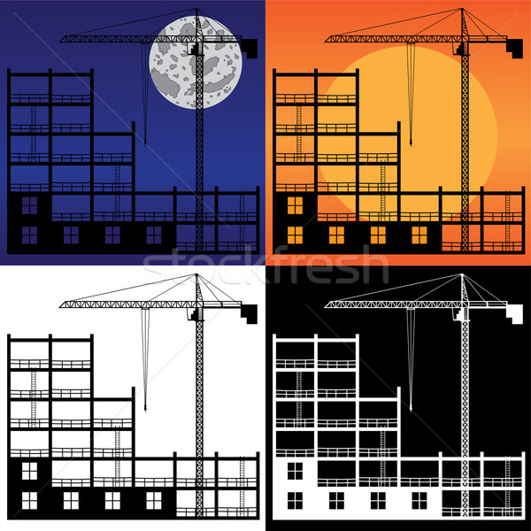 Lifting crane and building under construction. Stock photo © Neokryuger