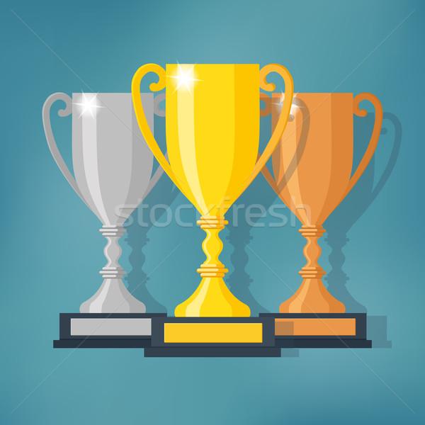 Foto stock: Ouro · prata · bronze · troféu · copo · diferente