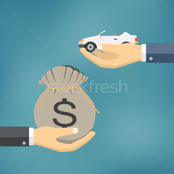 Stock photo: Hands with car and money bag.