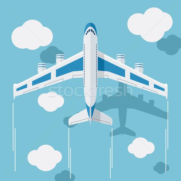 Foto piano nubi stile illustrazione blu Foto d'archivio © Neokryuger