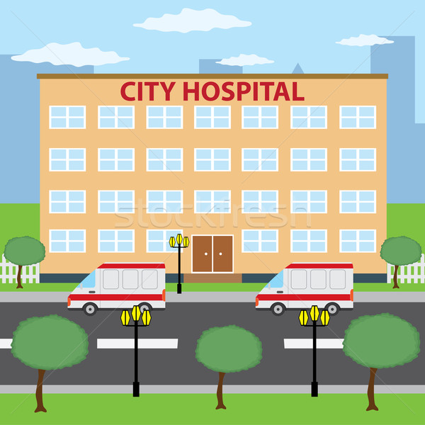 Città ospedale due ambulanza auto parcheggio Foto d'archivio © Neokryuger