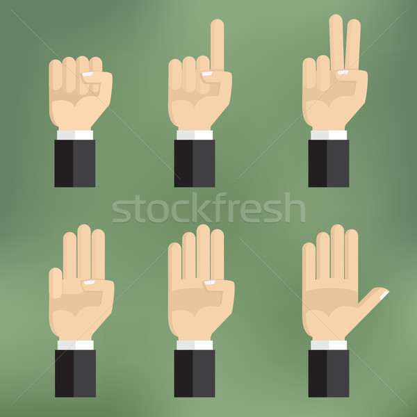 Set of counting hand sign from one to five. Stock photo © Neokryuger