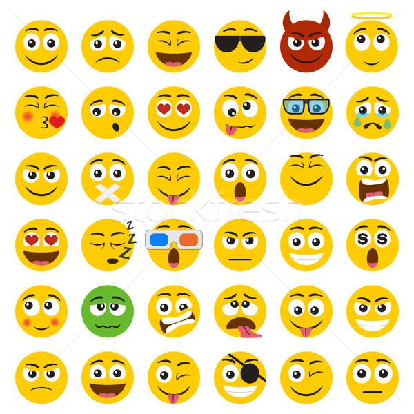 Szett emotikonok mosoly ikonok izolált fehér Stock fotó © Neokryuger