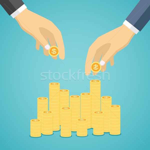 Stock photo: Business hands put coin to money staircase.
