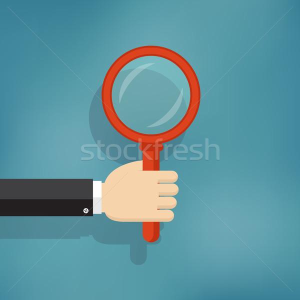 Hand vergrootglas illustratie glas informatie Stockfoto © Neokryuger