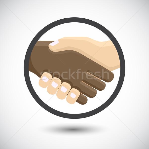 Internationale bedrijfsleven mensen handen schudden handdruk icon vergadering Stockfoto © Neokryuger