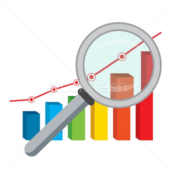 金融 グラフ 虫眼鏡 ビジネス ガラス データ ストックフォト © Neokryuger