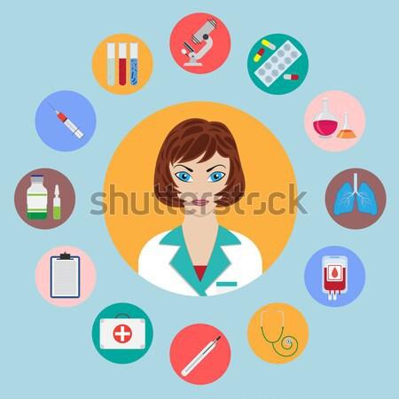 Conjunto médico objetos enfermeira retrato médico Foto stock © Neokryuger