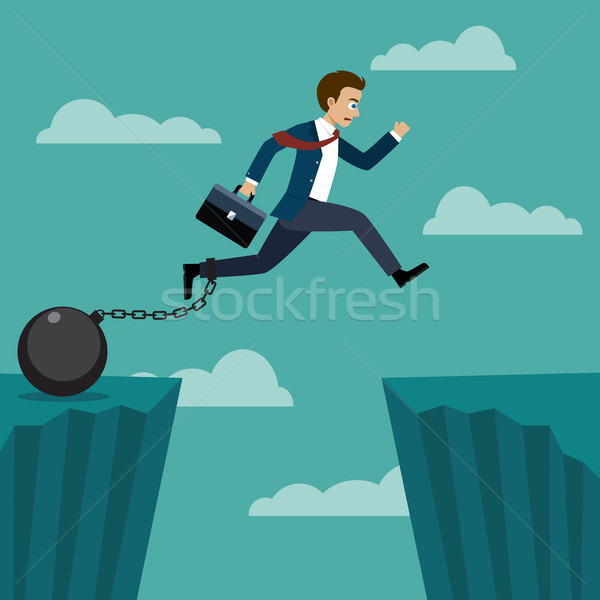 Businessman jumped over a cliff. Stock photo © Neokryuger