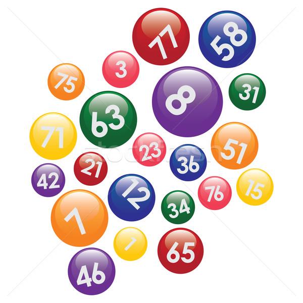 Lotería números blanco grupo pelota Foto stock © Neokryuger