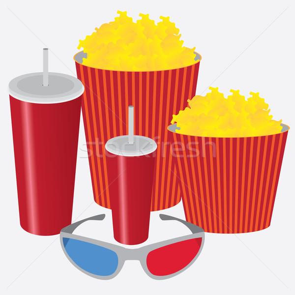 3D cinema soda pipoca óculos 3d branco Foto stock © Neokryuger