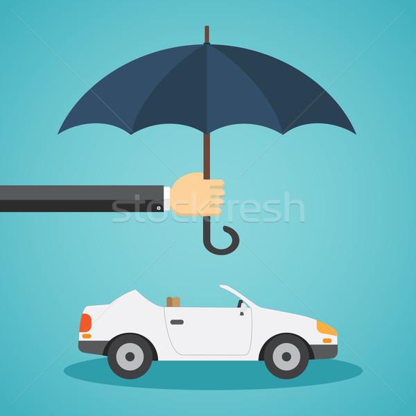 Stock fotó: Kéz · esernyő · autó · biztosítás · biztonság · szolgáltatás
