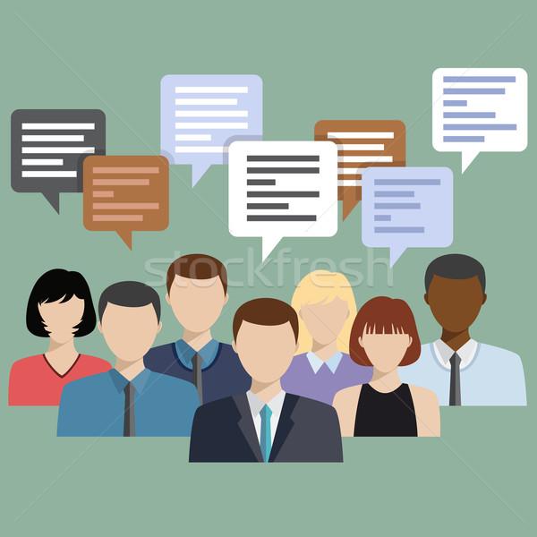 Ludzi biznesu grupy mówić chat komunikacji Zdjęcia stock © Neokryuger
