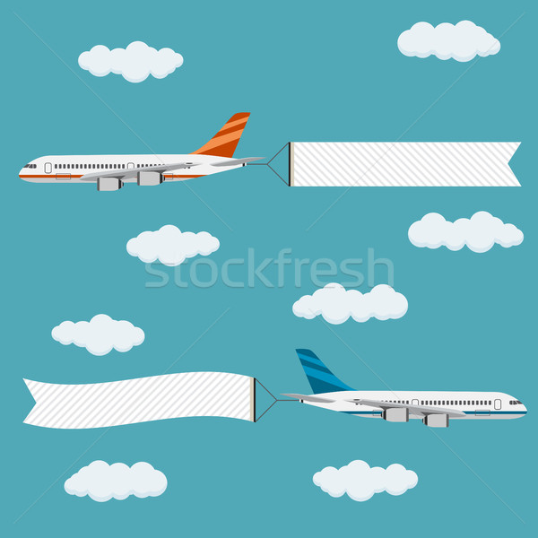 Voador aviões banners modelo texto projeto Foto stock © Neokryuger
