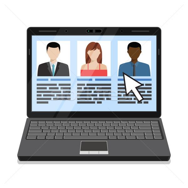 Laptop listy twarz internetowych pracy wyszukiwania Zdjęcia stock © Neokryuger