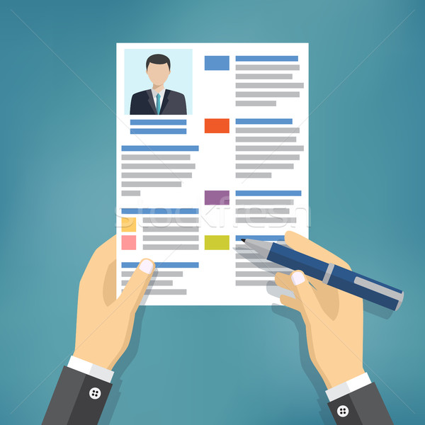 Hands of businessman fill a resume. Stock photo © Neokryuger