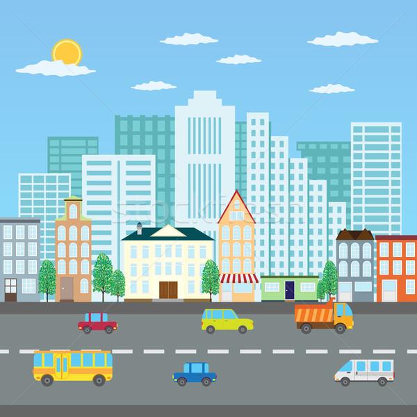 Estate cityscape view città strada auto Foto d'archivio © Neokryuger
