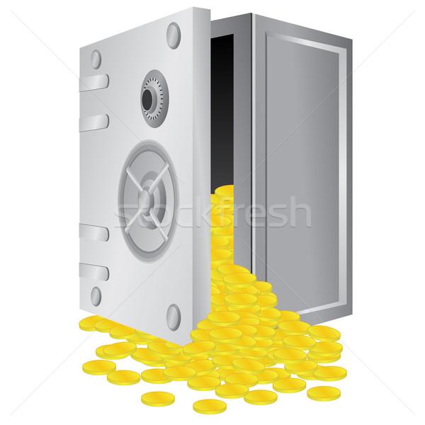 Veilig Open deur vak gouden munten binnenkant Stockfoto © Neokryuger