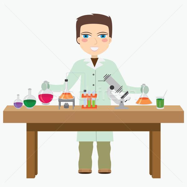 Chimico laboratorio uomo esperimento medico medici Foto d'archivio © Neokryuger