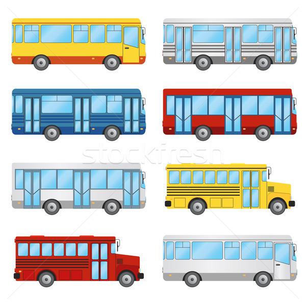 Ayarlamak beyaz toplu taşıma turizm okul otobüsü okul Stok fotoğraf © Neokryuger