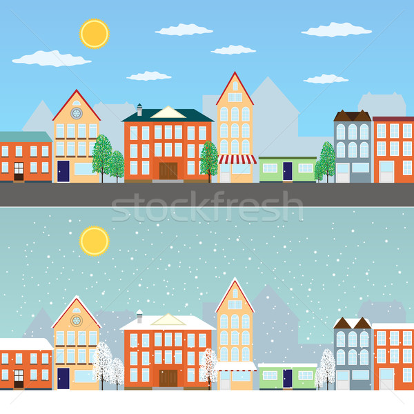 Foto stock: Verão · inverno · paisagens · urbanas · cityscape · dia · negócio