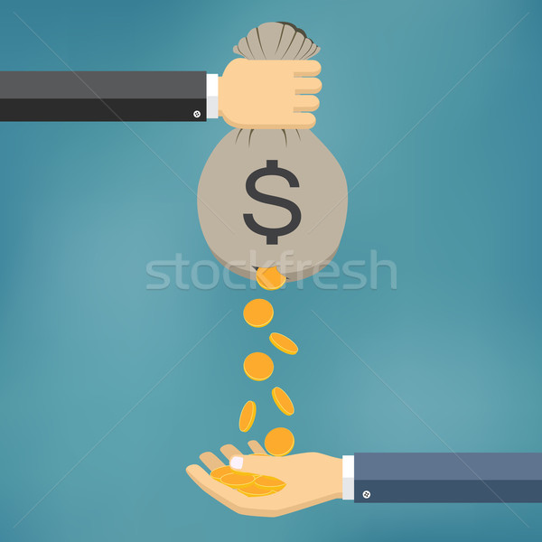 Gold Coins Falling From Money Bag. Stock photo © Neokryuger