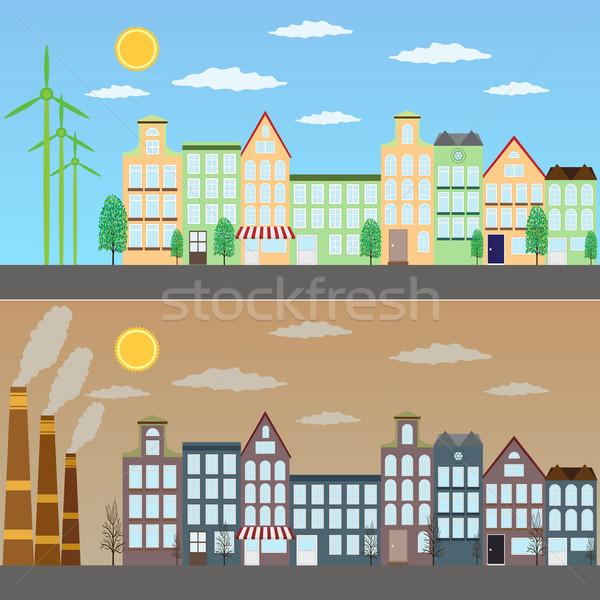 Kilátás zöld város szennyezés ökológiai égbolt Stock fotó © Neokryuger