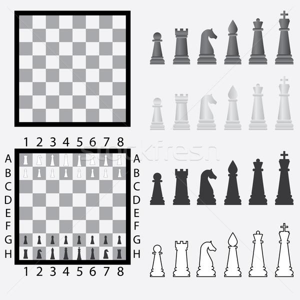 Satranç tahtası ayarlamak siyah beyaz satranç siyah Stok fotoğraf © Neokryuger
