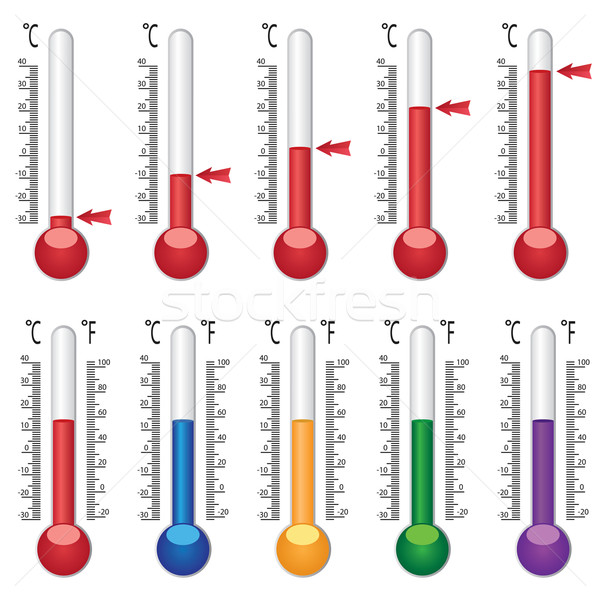 Set of coloured thermometers. Stock photo © Neokryuger