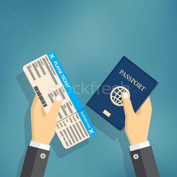 Boarding Pass and Passport in hands. Stock photo © Neokryuger