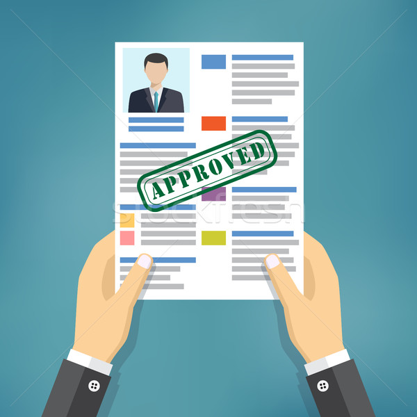 Hand holding approved resume. Stock photo © Neokryuger