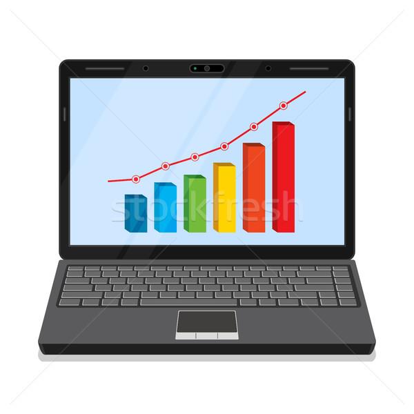 Foto stock: Monitor · gráfico · de · negócio · laptop · tela · dinheiro · caderno