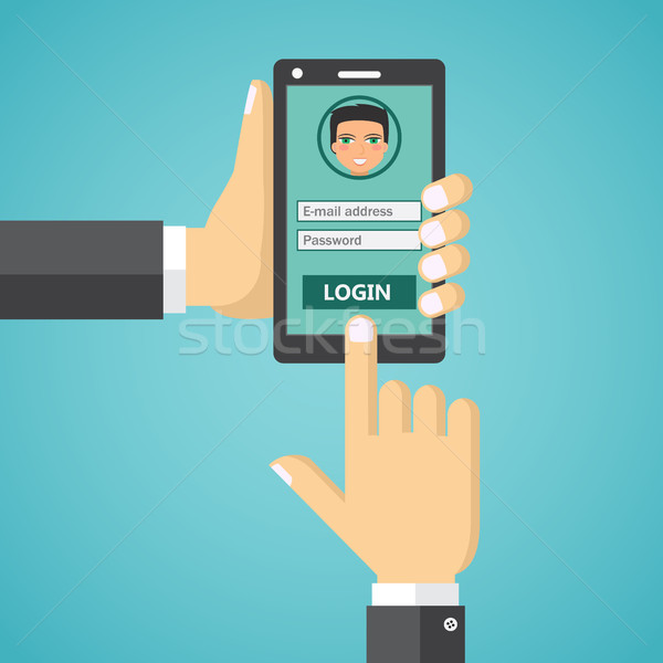 Sign in page on smartphone screen. Stock photo © Neokryuger