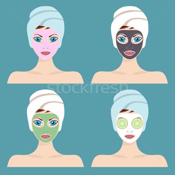 Ingesteld vrouwen cosmetische gezicht maskers grafisch ontwerp Stockfoto © Neokryuger