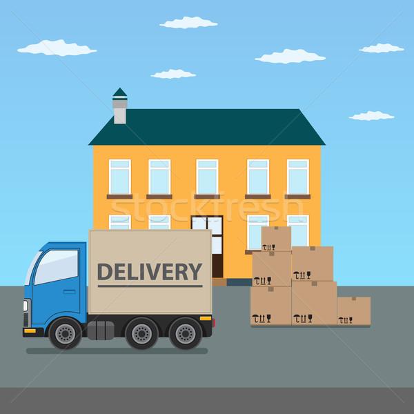 Camion de livraison carton cases maison rapide livraison Photo stock © Neokryuger