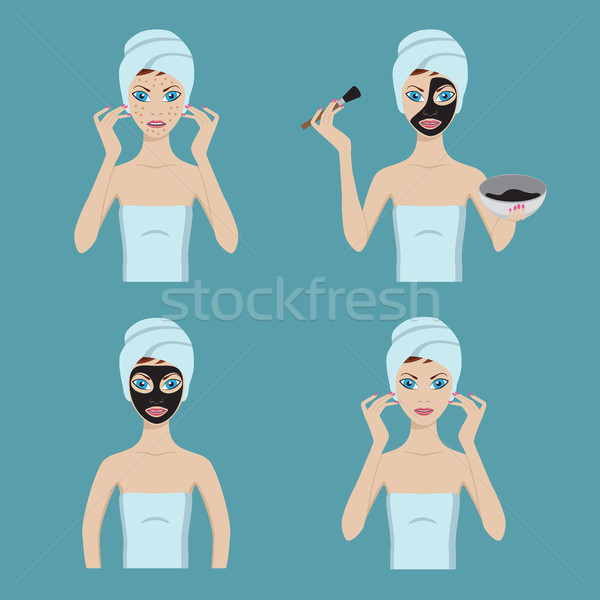 Girl applies cosmetic mask on her face. Stock photo © Neokryuger