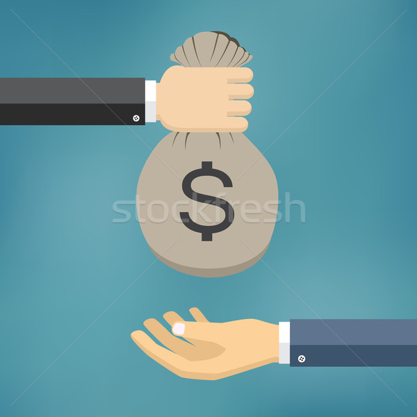 Human hand gives money bag to another person. Stock photo © Neokryuger