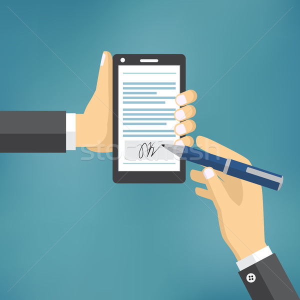 Businessman Hands signing Digital signature. Stock photo © Neokryuger