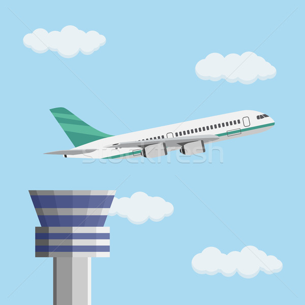 Airport control tower and flying civil airplane. Stock photo © Neokryuger