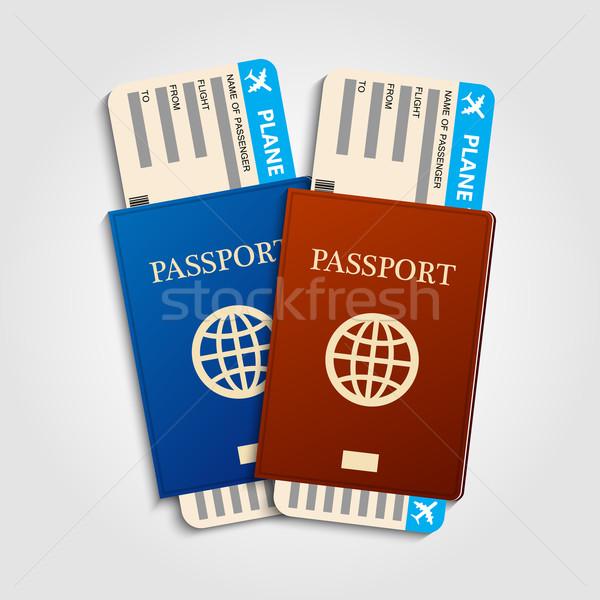 Biglietti rosso blu vacanze mondo Foto d'archivio © Neokryuger