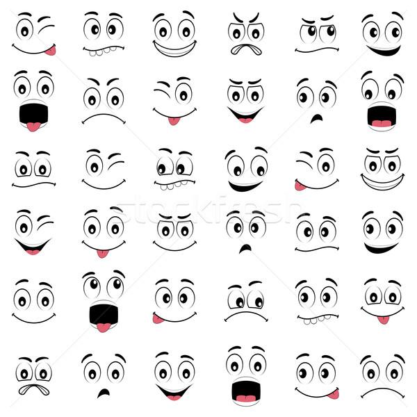 Cartoon facce diverso emozioni espressioni occhi Foto d'archivio © Neokryuger