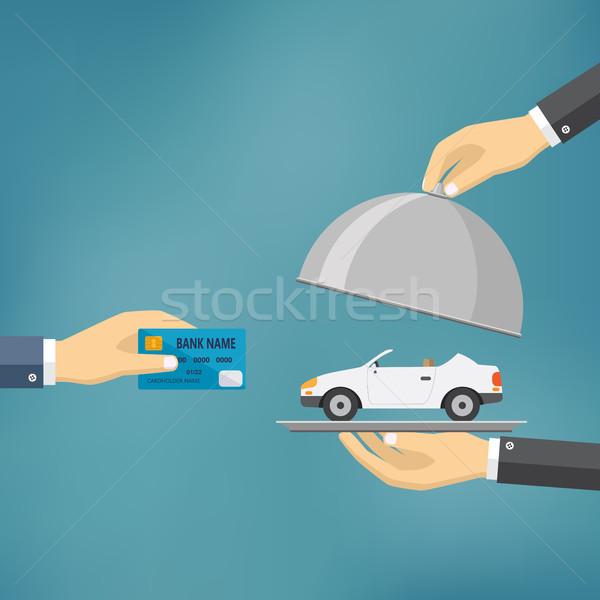 手 クレジットカード 車 eコマース ベクトル ストックフォト © Neokryuger