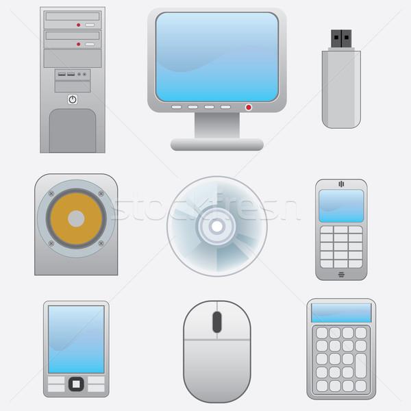 Zestaw elektronicznej biały działalności telefon Zdjęcia stock © Neokryuger