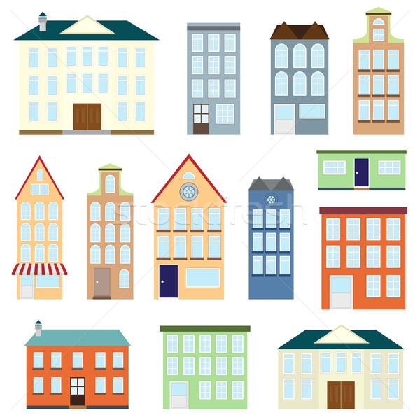 Zestaw wektora domów biały działalności domu Zdjęcia stock © Neokryuger