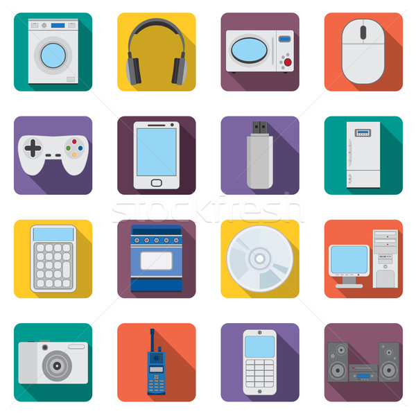 Set of flat home aplliances and electronic devices icons. Stock photo © Neokryuger