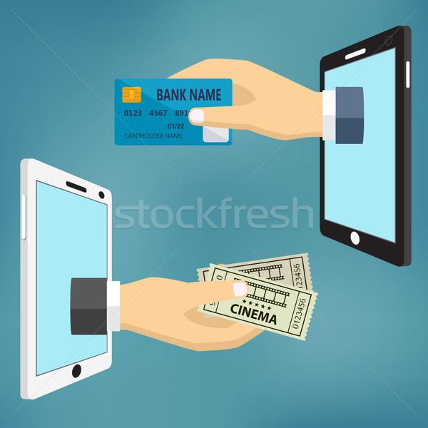 Mãos cartão de crédito cinema bilhetes ecommerce vetor Foto stock © Neokryuger